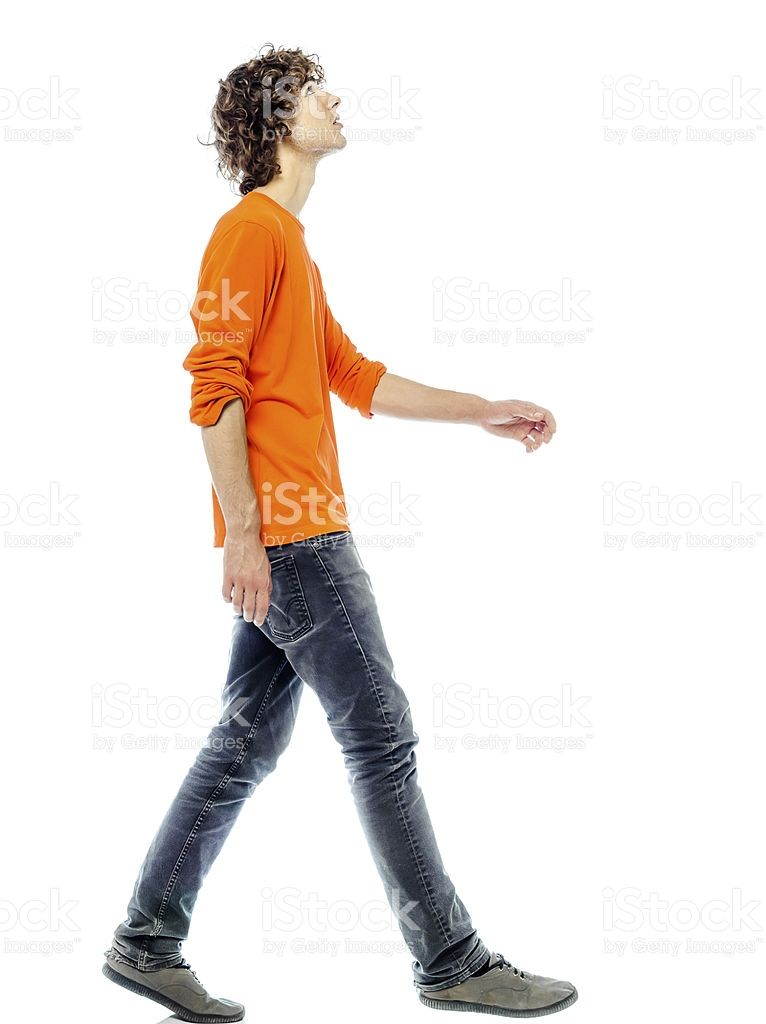 Side View Of Young Man Walking And Looking Upwards Royalty Free Stock Photo Walking Poses Man Looking Up Body Pose Drawing