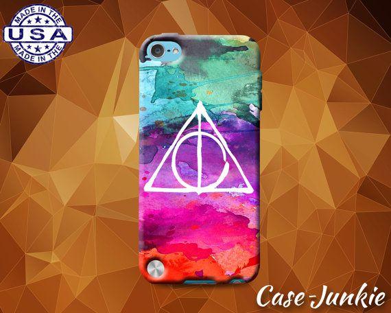Deathly Hallows Symbol Watercolor Rainbow Harry Potter Rubber Custom