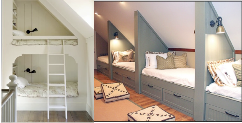Beds For Attic Rooms these white bunk beds and the beds along the side wall make the