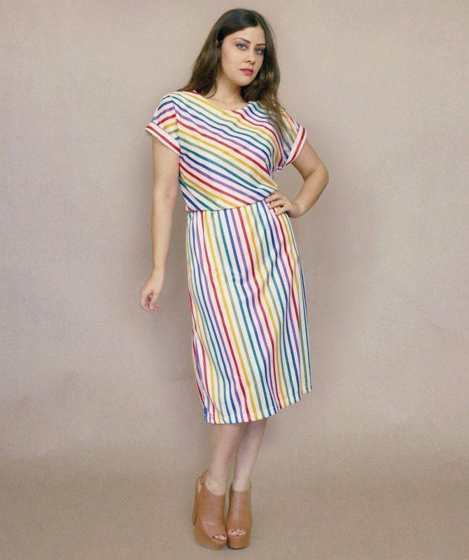 4dbeb5f7091 Rainbow Striped Dress 70s Midi Sundress White