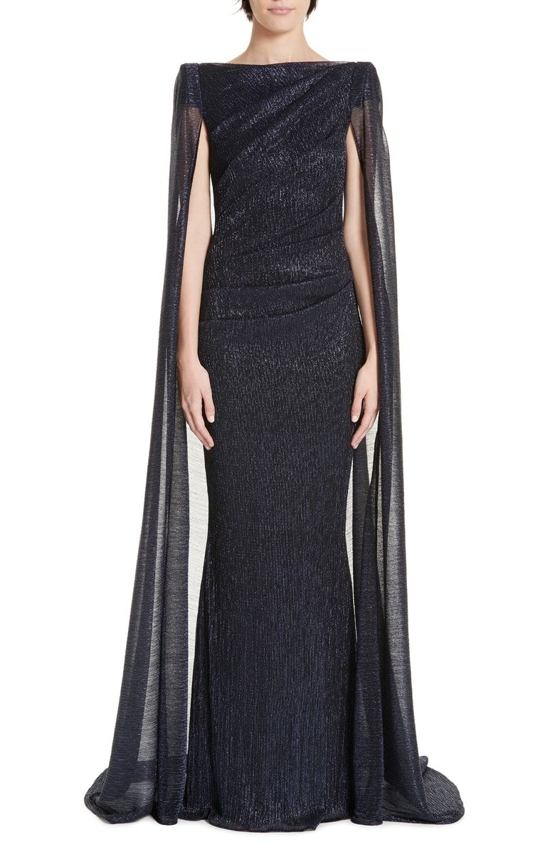 214571b180 Free shipping and returns on Talbot Runhof Cape Back Ruched Metallic Gown  at Nordstrom.com. A diaphanous cape floats from the shoulders of a radiant  gown ...