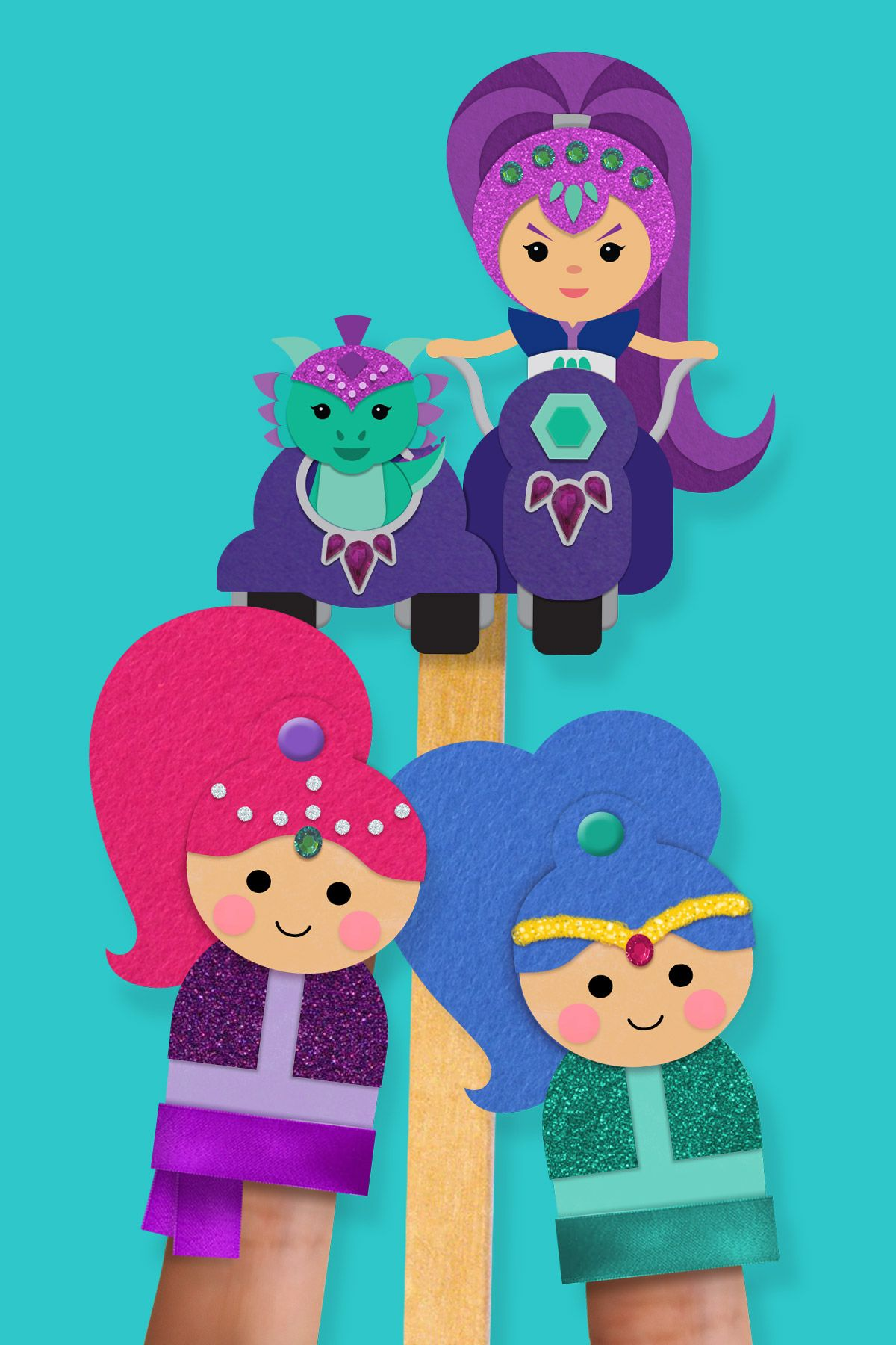 Shimmer and shine pinkie pals finger puppets marioneta for Shimmer and shine craft ideas