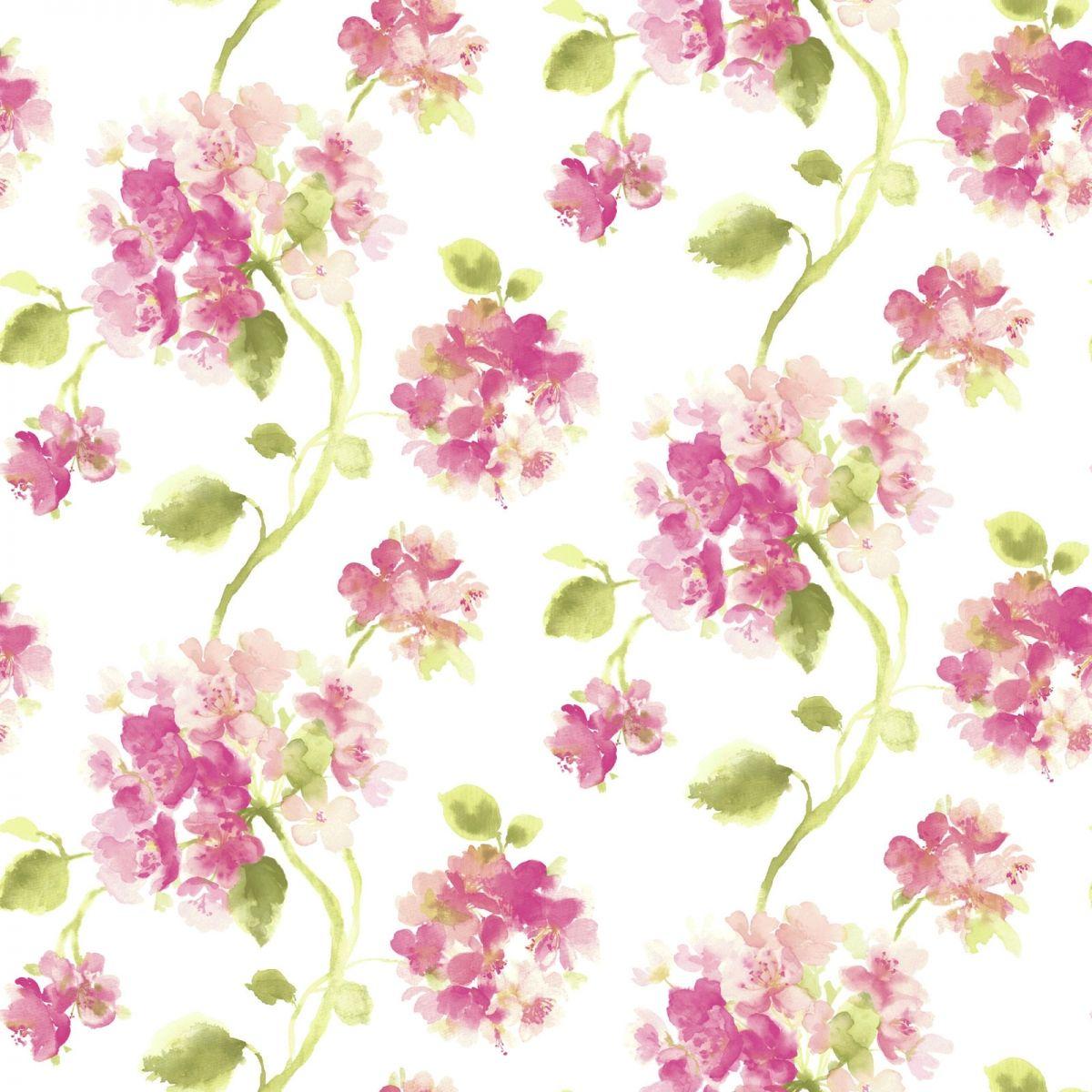 Aquarelle Pink Floral Wallpaper Pink floral wallpaper