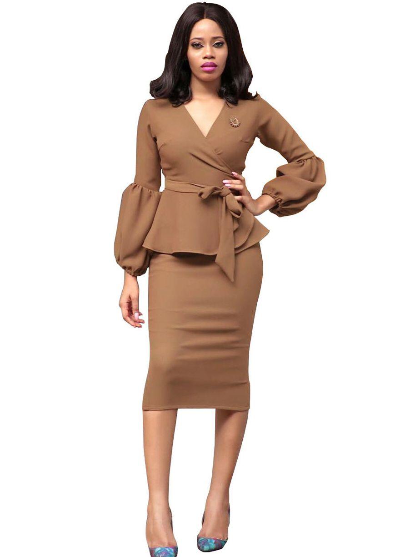 Brown Puff Sleeve Belted Peplum Dresspeplum Dressdressessexy