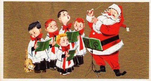 santa and choir
