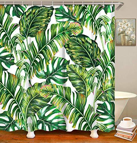 Tropical Palm Leaf Shower Curtain Set With 12 Hooks 70 8 X 70 8