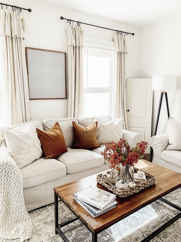 Fall Living Room Tour- How to add Fall Color | Fall living ...