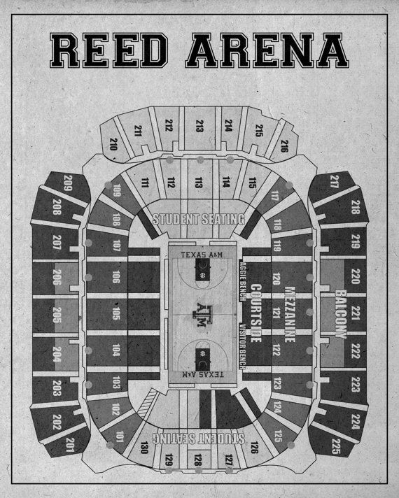 Vintage Print Of Reed Arena Seating Chart Blueprint Texas A M Free Shipping College Photo Paper Matte Canvas Sports Art Footbal Vintage Prints Blueprints Print
