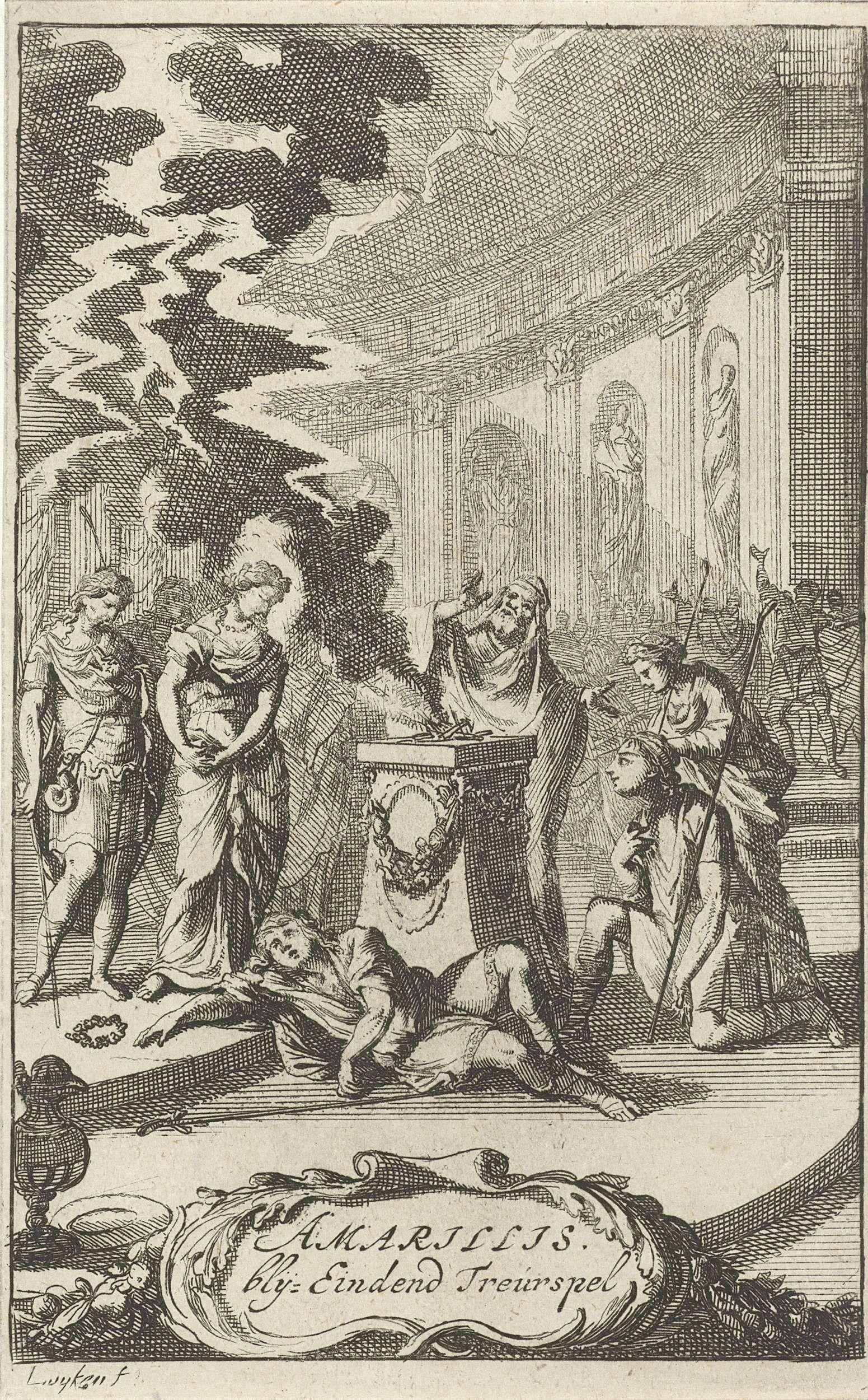 Caspar Luyken | Amarillis in een tempel bij het lijk van de door de bliksem gedode Damon, Caspar Luyken, erven Jacob Lescailje, 1693 |