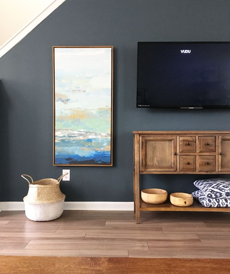 Rooms: Blue Accent Wall With Natural Wood Tones, LOVE!