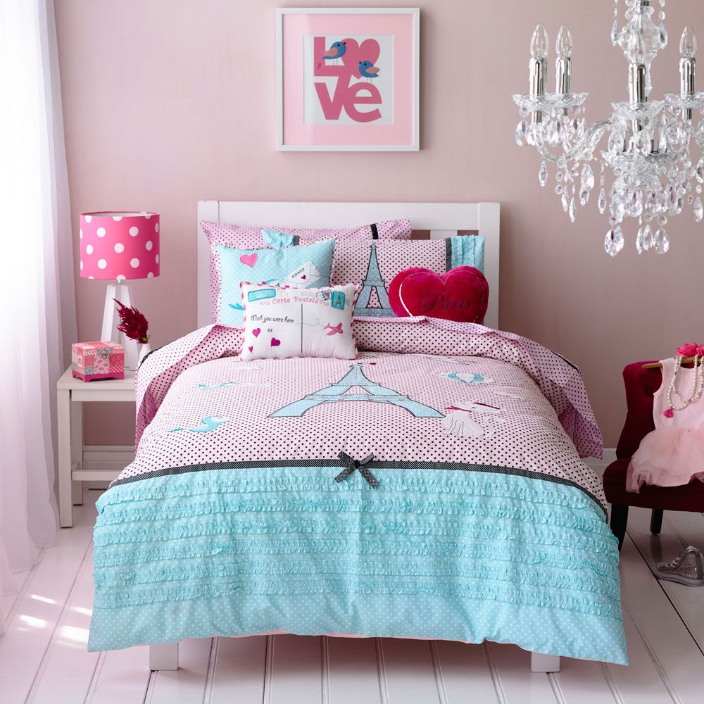 Kids bed sheets pretty paris home decor girls room pinterest kids bed sheets bed sheets - A nice bed and cover for teenage girls or room ...