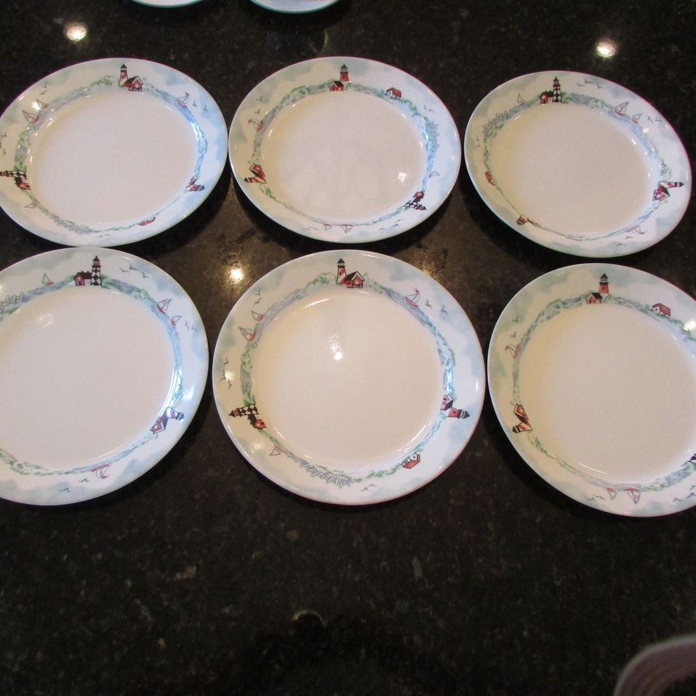 Corelle OUTER BANKS Lighthouses 10 1/4  DINNER Plates Set of Six & Corelle OUTER BANKS Lighthouses 10 1/4