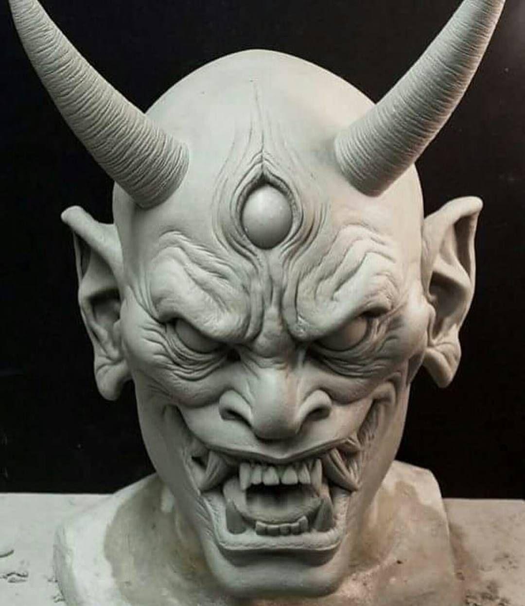 badass japanese hannya demon mask sculpted by artist