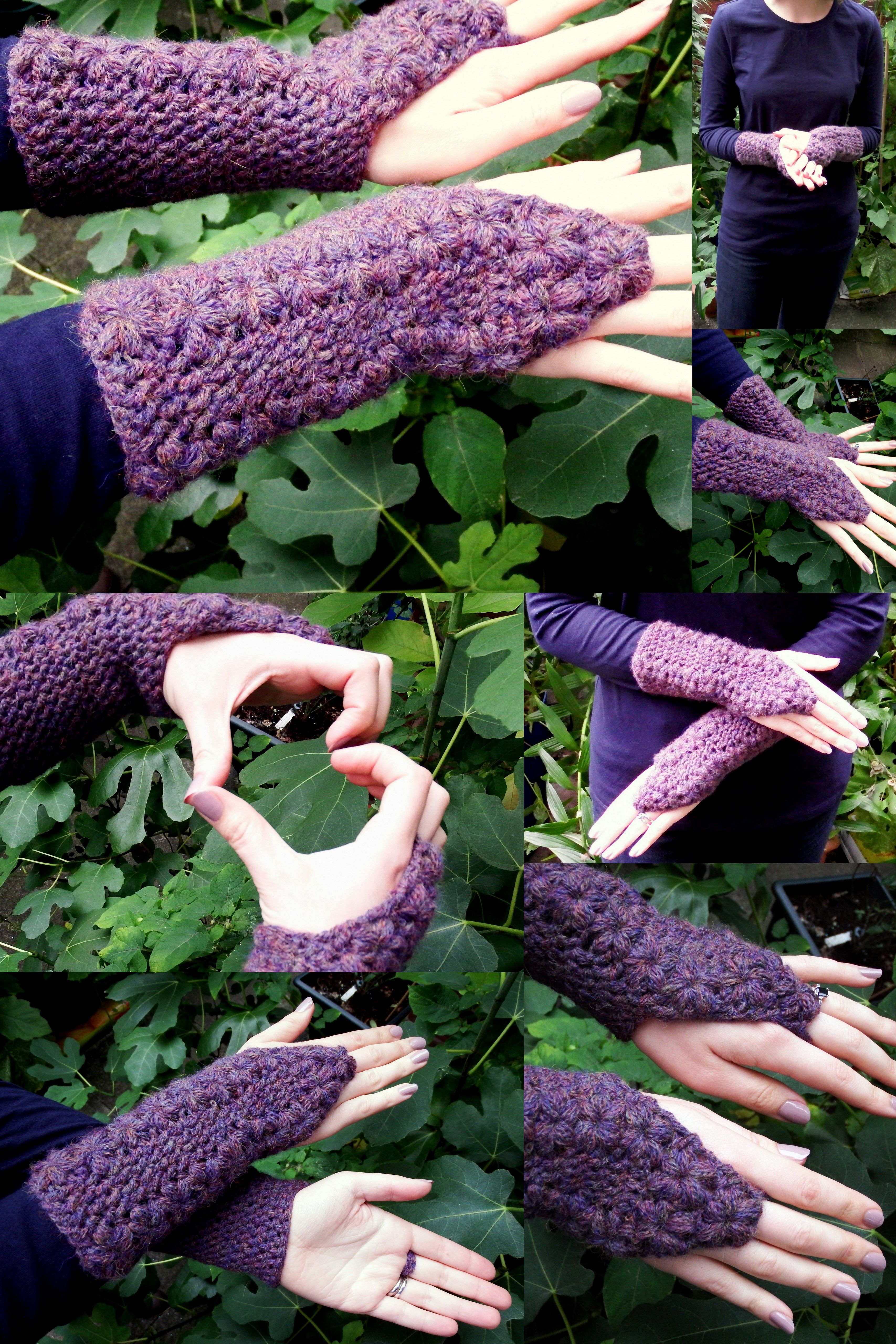 Simple Flower Trails Fingerless Gloves ~ Free Crochet | CROCHET ...