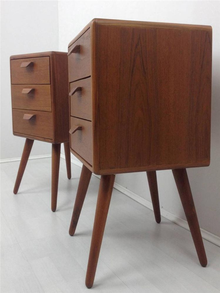 . Teak Bedside Tables Retro 50 s 60 s Danish  RETRO DESIRE  Bedroom