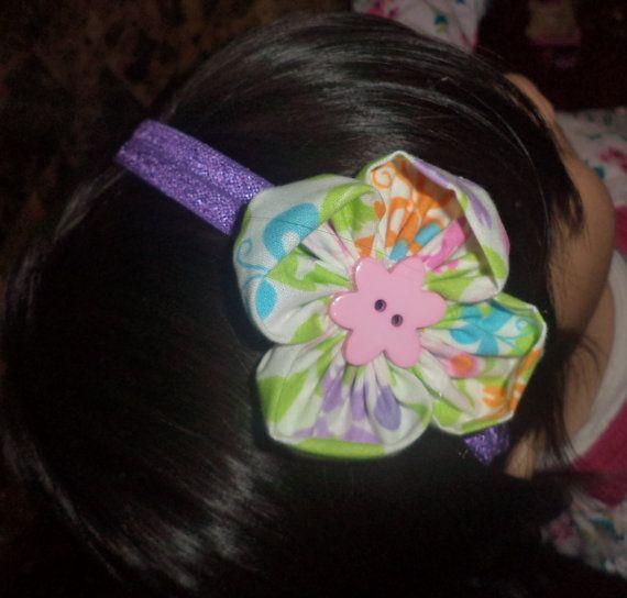 fabric flower headband by Sophiasfabricflower on Etsy, $3.75