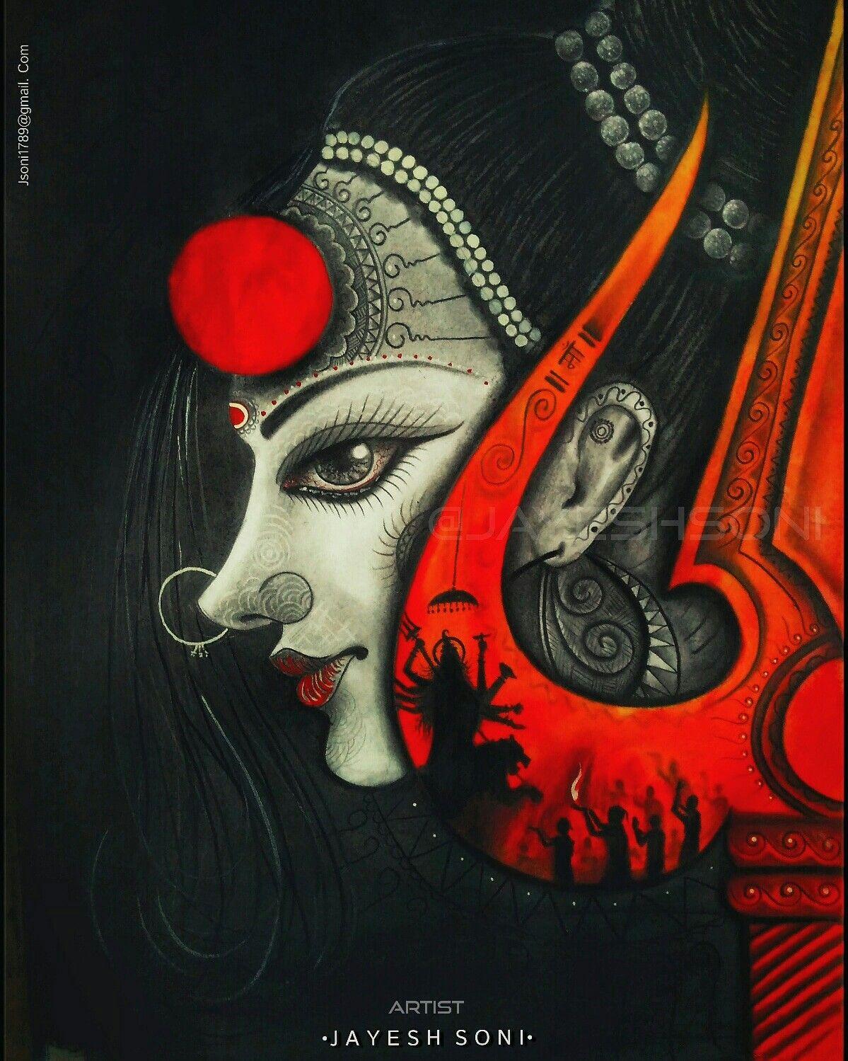 Creative Drawing In 2019 Durga Painting Watercolor Art