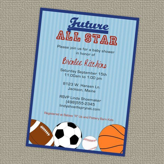 c4208915a3894 Baby Shower All Star Invite, Sports themed, Future All star, digital ...