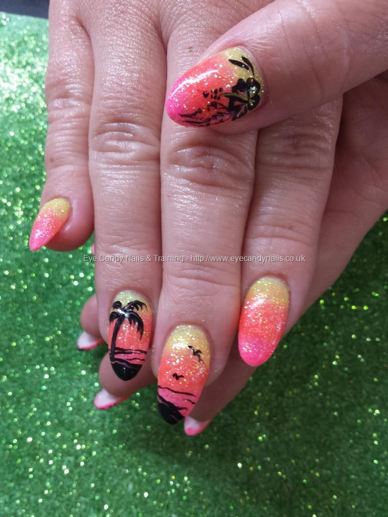 Yellow pink and orange glitter fade with freehand palm