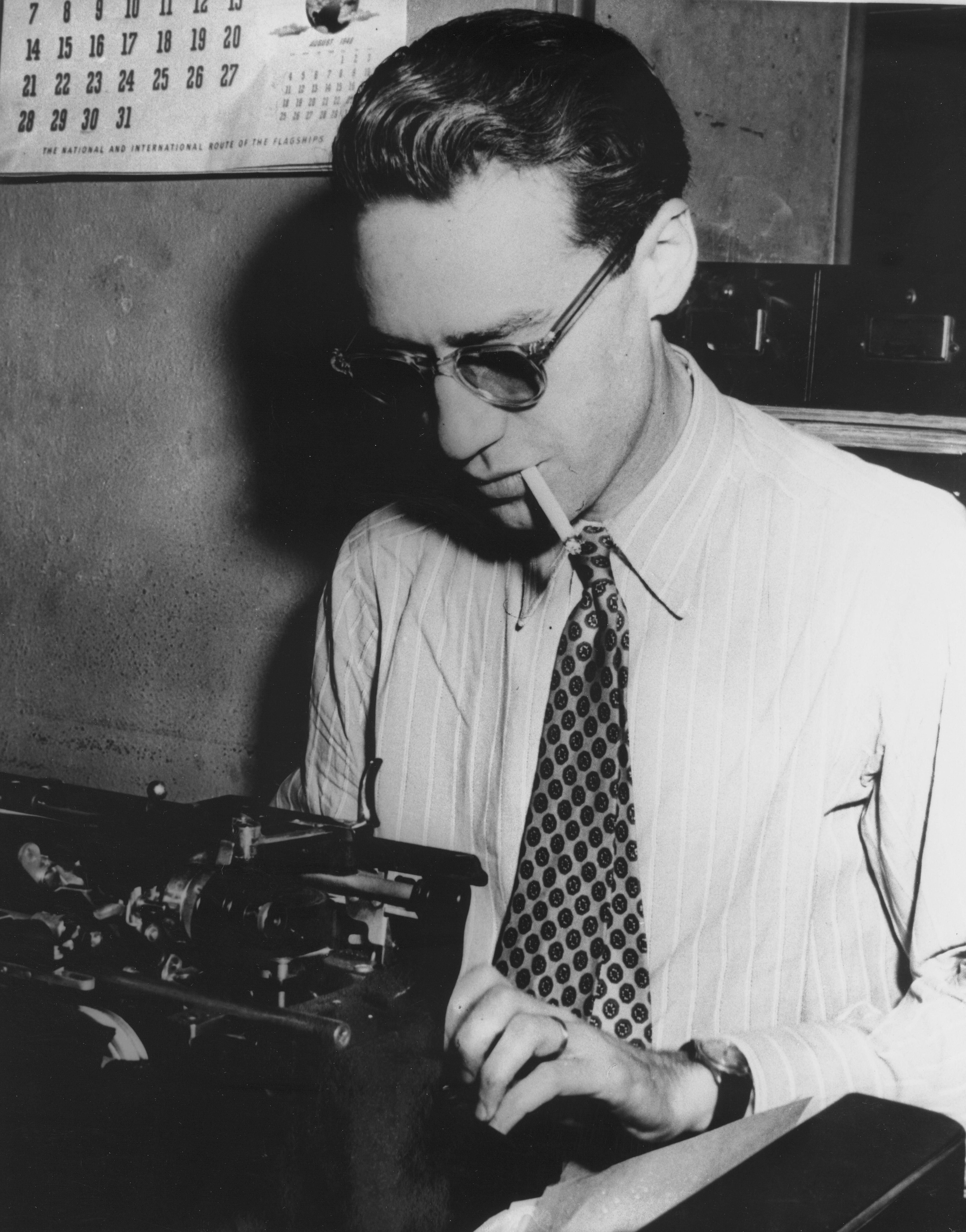 Journalist And Author John Bartlow Martin At Work At The