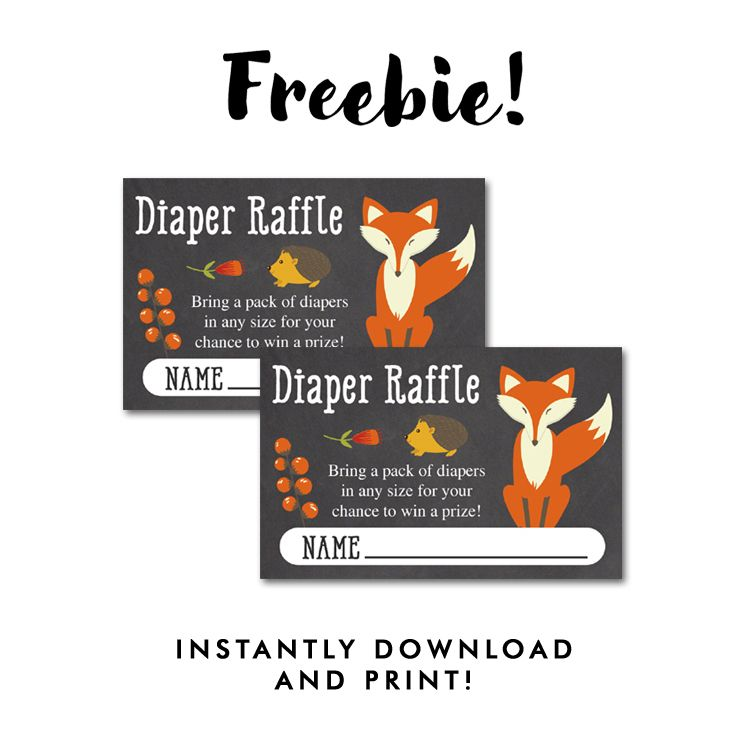 Free Baby Shower Woodland Fox Chalkboard - Insert Diaper Raffle - raffle ticket