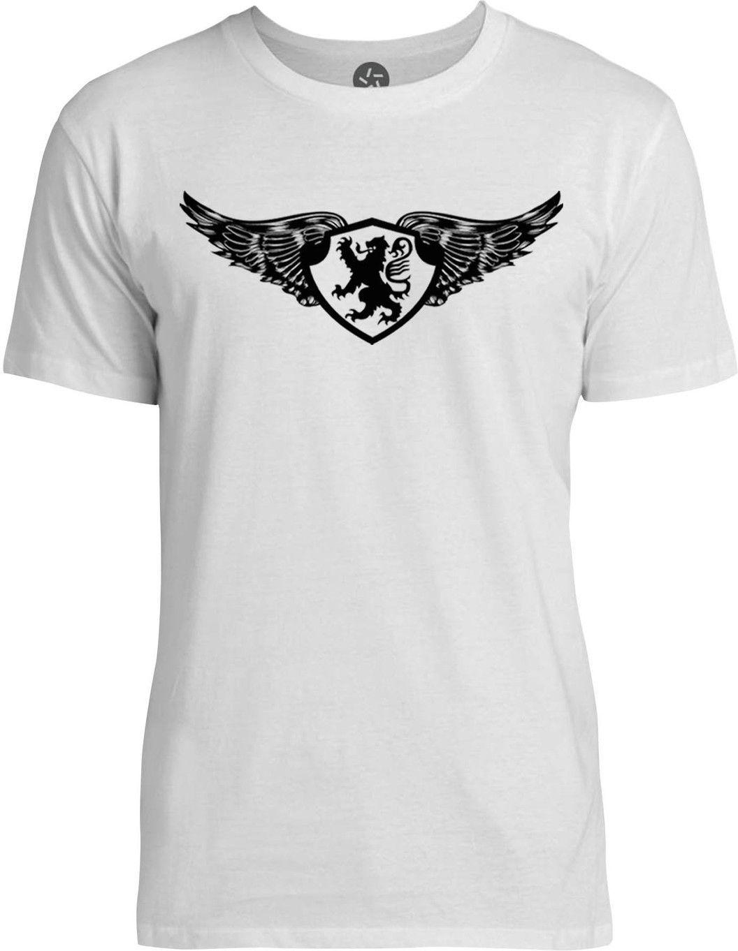 Winged Lion Crest (Black) Mens Fine Jersey T-Shirt