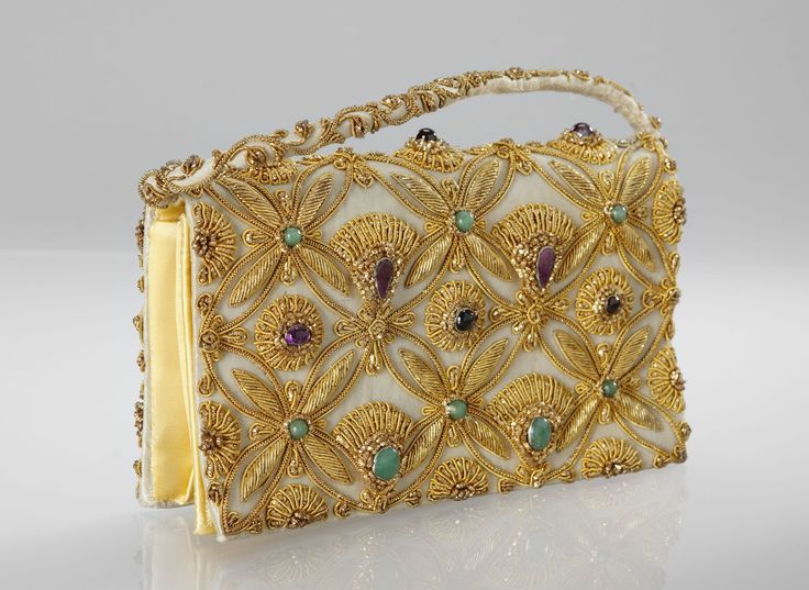 Evening bag embroidered with gold thread and amethysts, aventurine ...