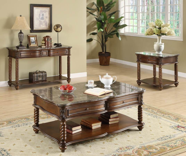 Lockwood Brown Mahogany Wood Marble Coffee Table Set | Coffee Table ...