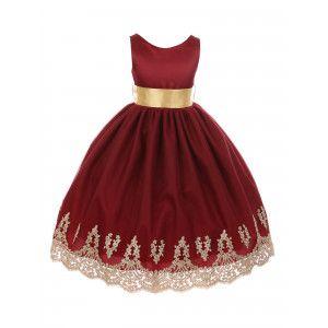 da8f51988ec Chic Baby Big Girls Burgundy Gold Lace Embroidery Junior Bridesmaid Dress 8 -14