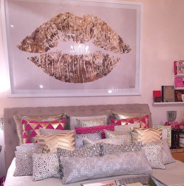 home accessory pillow gold white pink hot pink silver gold pillow ...