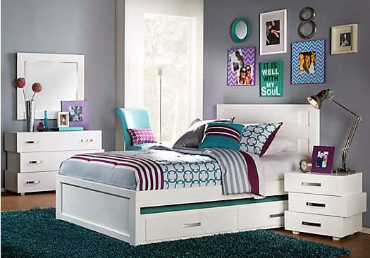 Quake White 5 Pc Full Panel Bedroom | Bedrooms, Room and Teen ...