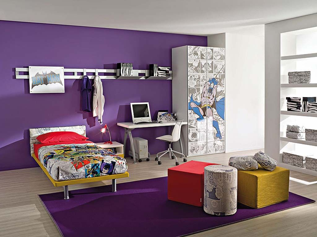 purple boy's room idea. replace batman with star wars. (ouch! my