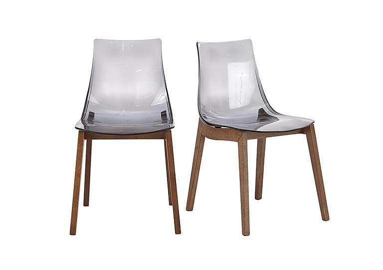 Mikado Pair Of Smoke Grey Acrylic Dining Chairs