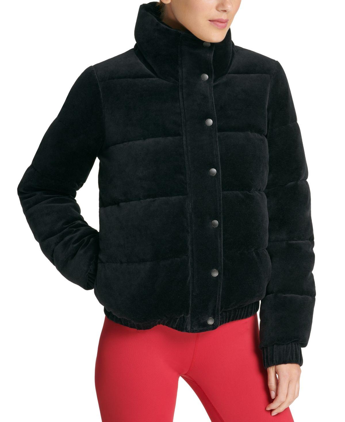 Dkny Sport Velour Puffer Jacket [ 1466 x 1200 Pixel ]