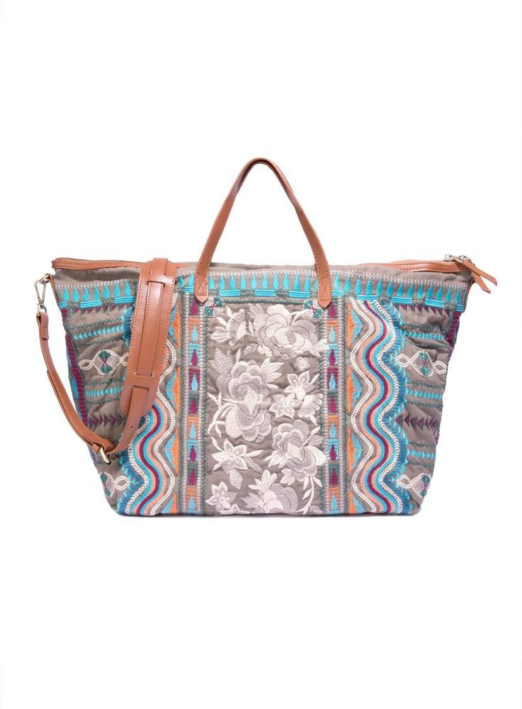 0340e1968b Johnny Was Embroidered Yucatan Weekend Bag New Desert Green J00917 Cotton  Canvas  Canvas  weekend
