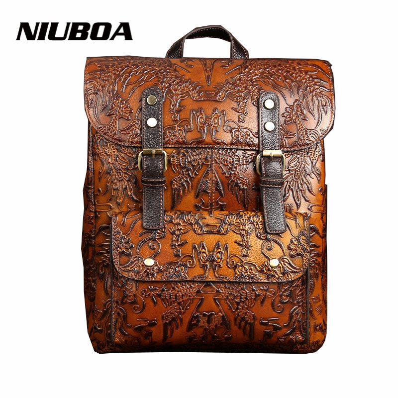 54.60$  Buy now - NIUBOA High Quality Women Embossed Backpack 100% Genuine Leather Teenager School Bag Vintage Natural National Travel Laptop Bags  #aliexpressideas