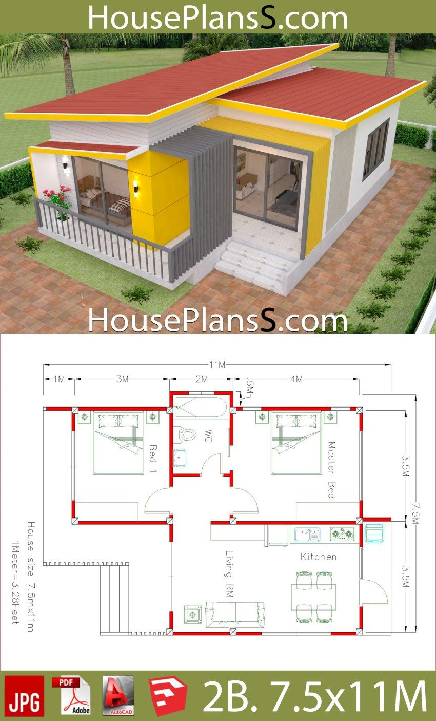 House Plans 7 5x11 With 2 Bedrooms Full Plans Little House Plans Small House Design Plans Sims House Plans