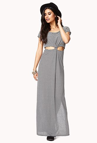 Striped Black And White Knot Front Maxi Dress Breathable Maxi