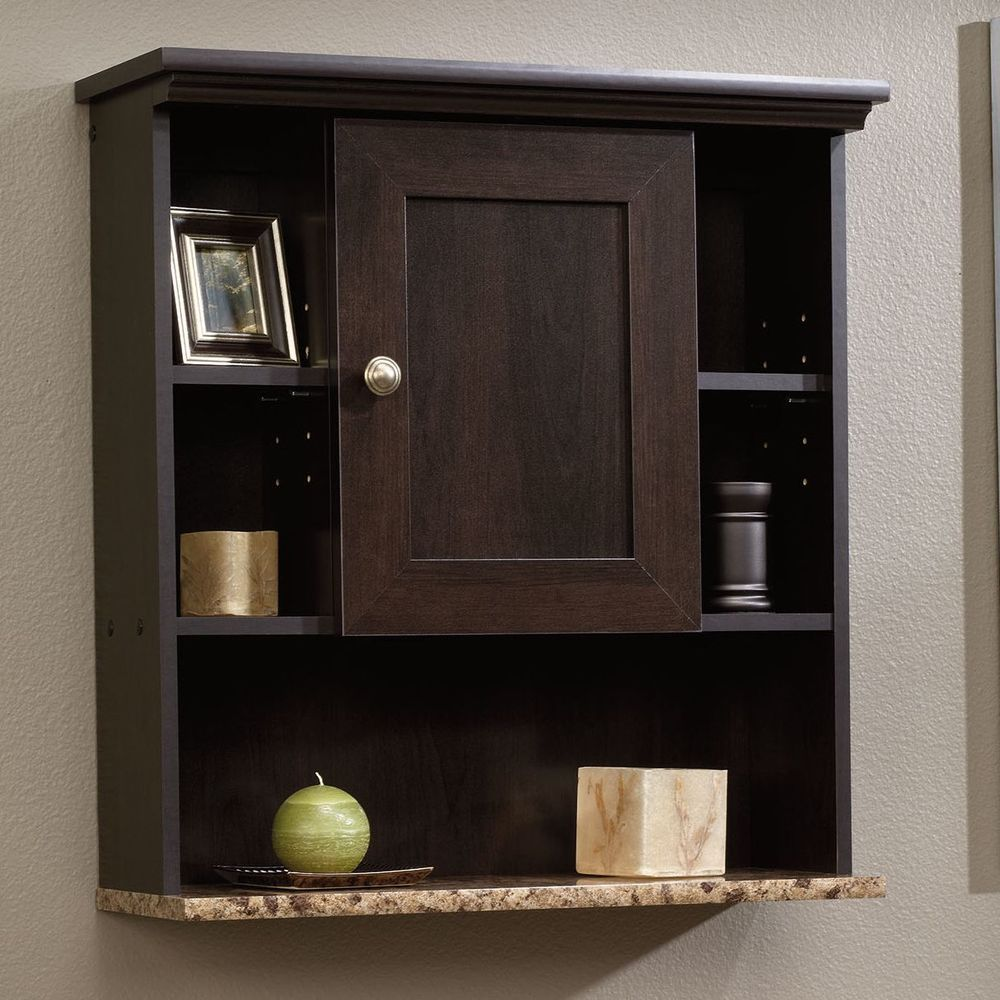 Bathroom Medicine Cabinet Wall Mount Organizer Faux Granite Shelf Espresso  Wood #SauderFurniture #Traditional