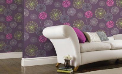 Room Lucienne Wallpaper In Purple By BQ
