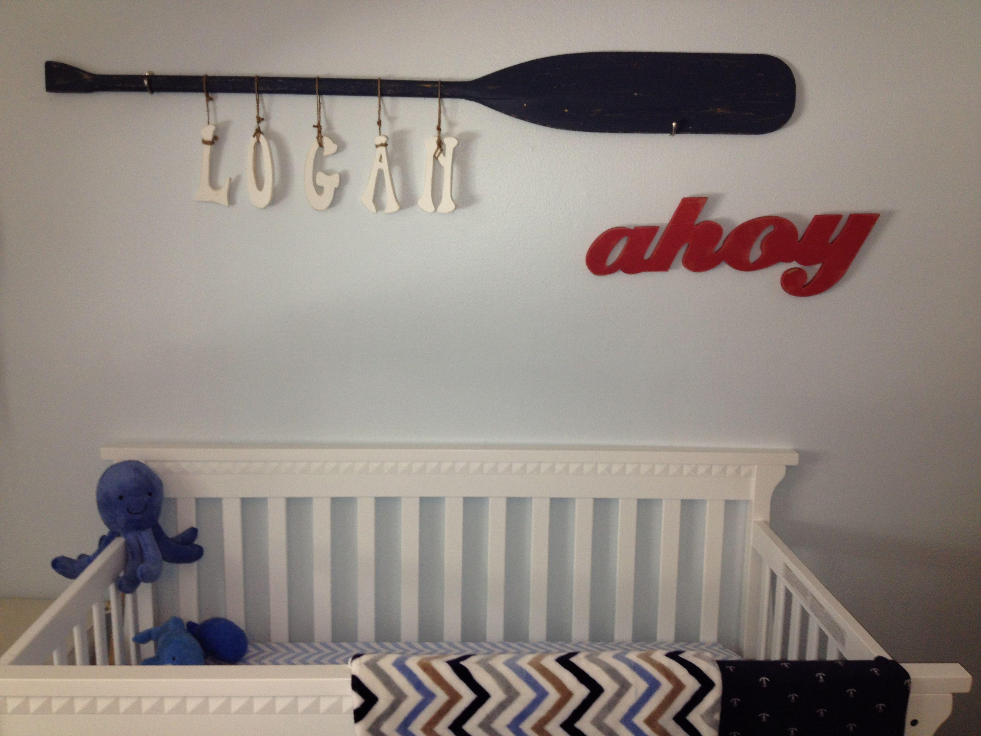 Nautical Nursery Wall Art Name Hung From Oar Baby Room