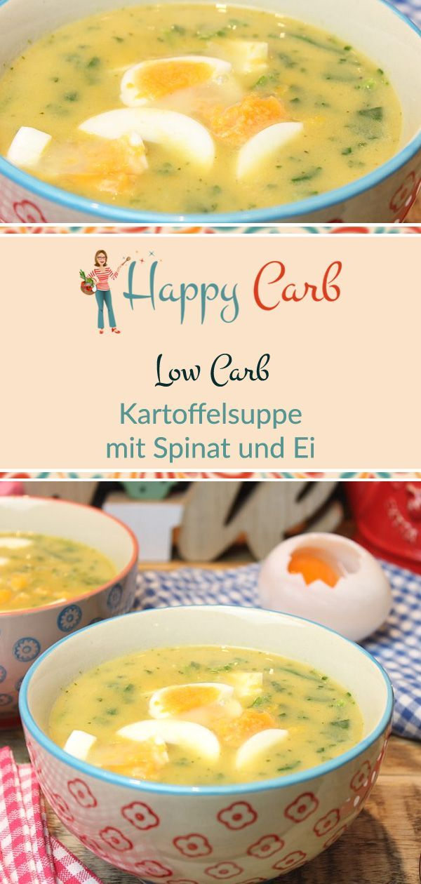 Kartoffelsuppe mit Spinat und Ei - Happy Carb Rezepte