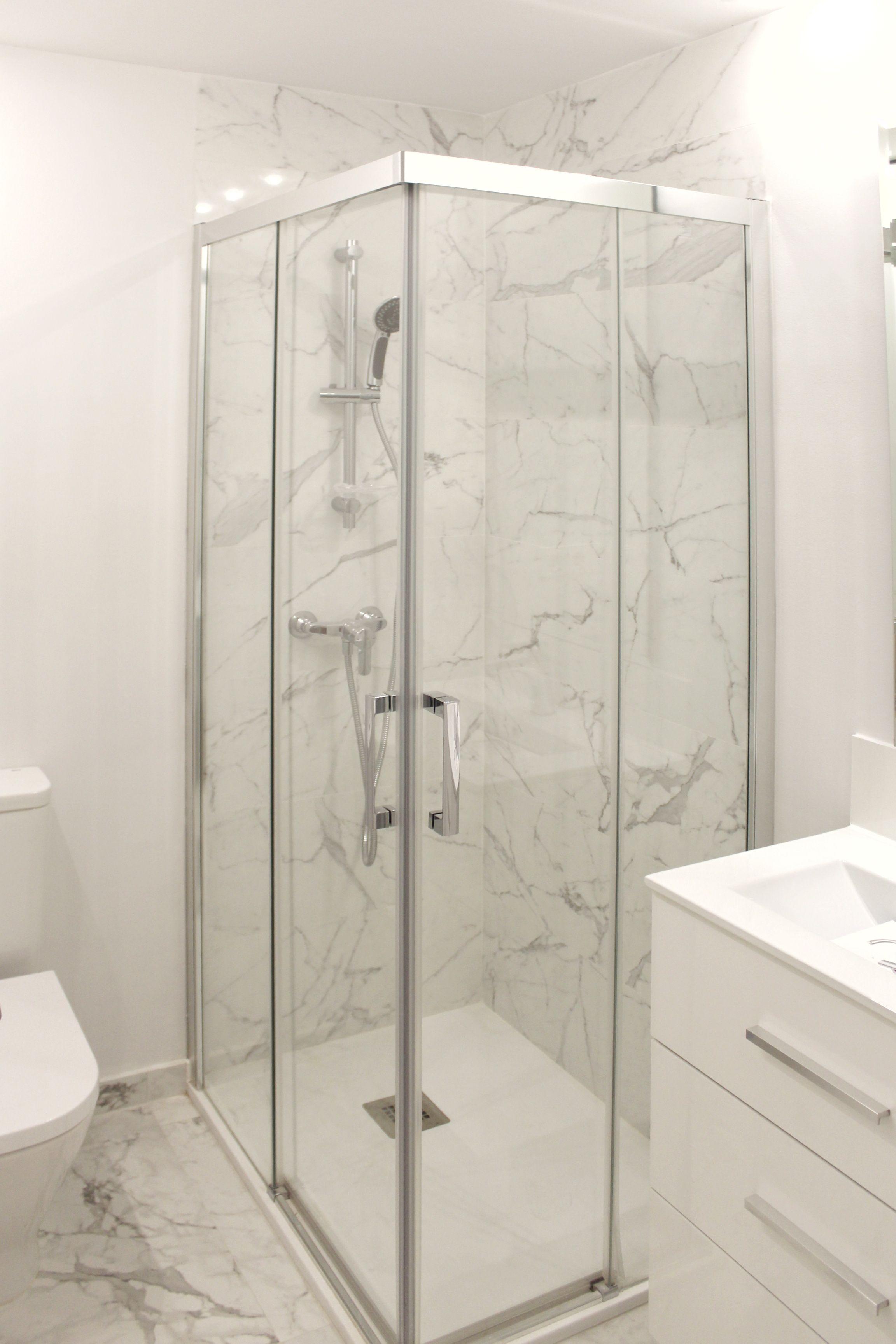 Cuarto de baño, plato de ducha con mampara apertura vertice | Baños ...