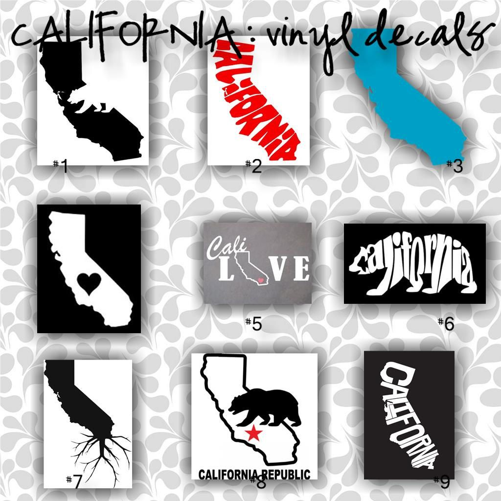 CALIFORNIA Vinyl Decals Car Window Sticker Custom - Car decal stickers custom
