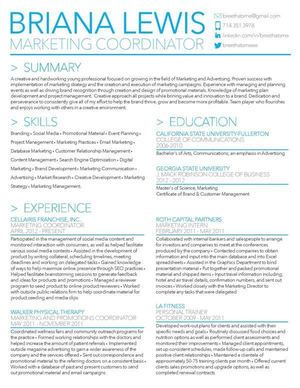 Briana Lewisu0027 Resume by Briana Lewis, via Behance- Marketing - marketing resume