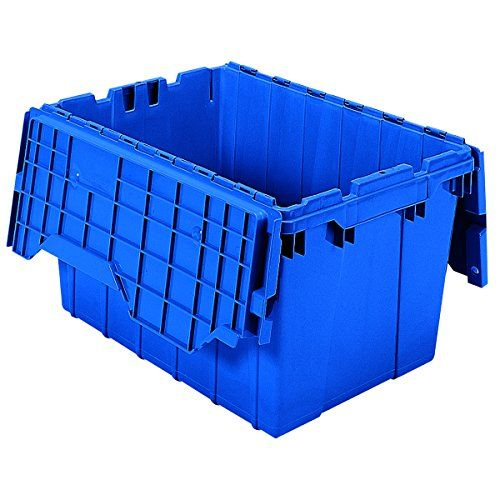 Akromils 39120 Plastic Storage And Distribution Container Tote With Hinged Lid 215inch L By 15inch W By Lidded Container Plastic Container Storage Storage Bins