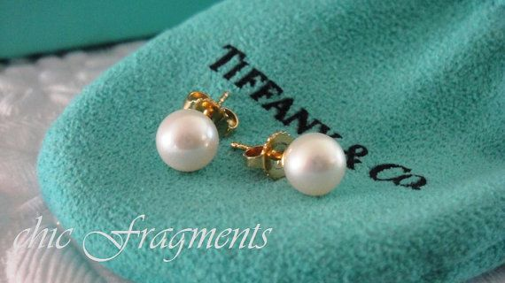 Vintage Estate Tiffany Co Pearl Stud Earrings By Chicfragments 675 00