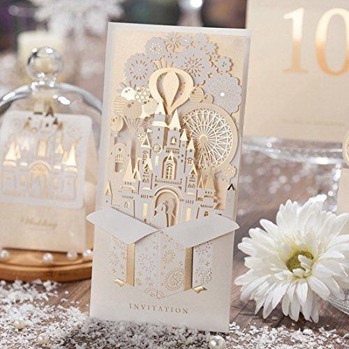 Wishmade 3d laser cut gold wedding invitations cards kit wishmade 3d laser cut gold wedding invitations cards kit stopboris
