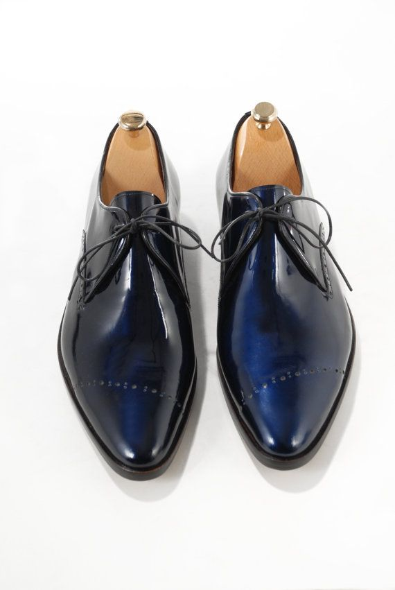 Men's Navy Blue Patent Leather Loafers