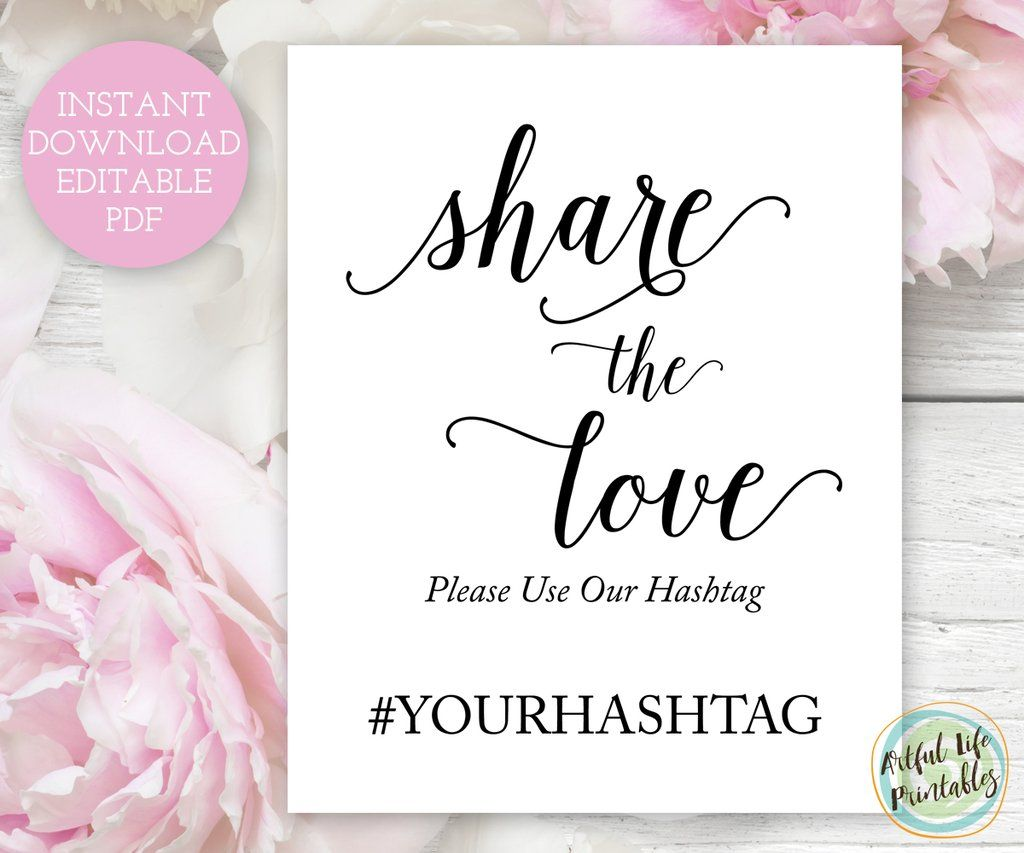 Wedding Hashtag Sign Template Printable Printables Signs Diy